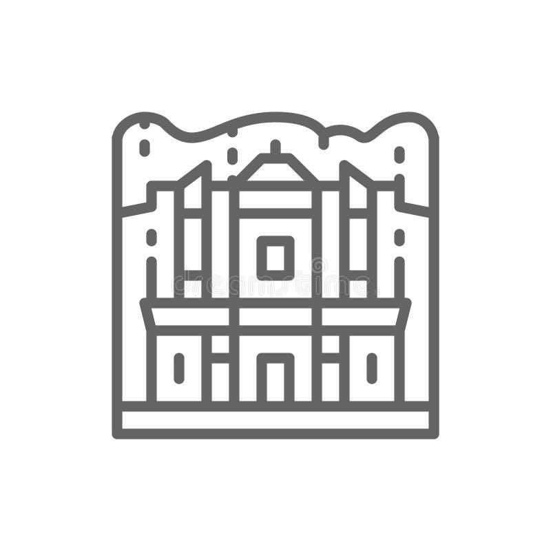 Monastery of Petra, Jordan, landmark line icon. royalty free illustration