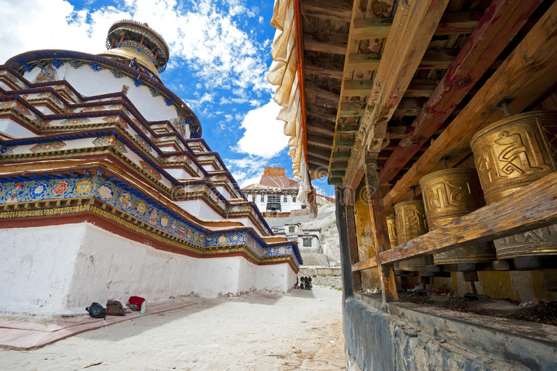 Monastery and prayer wheels royalty free stock image