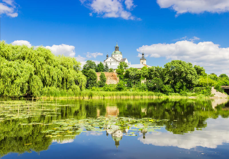 Monastery of the river in the foreground stock photography