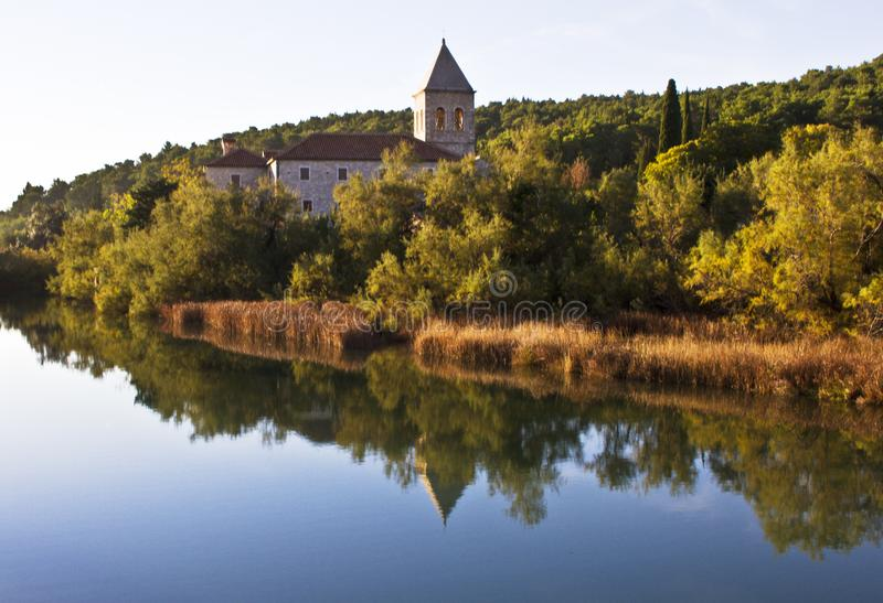 Monastery on the river stock image