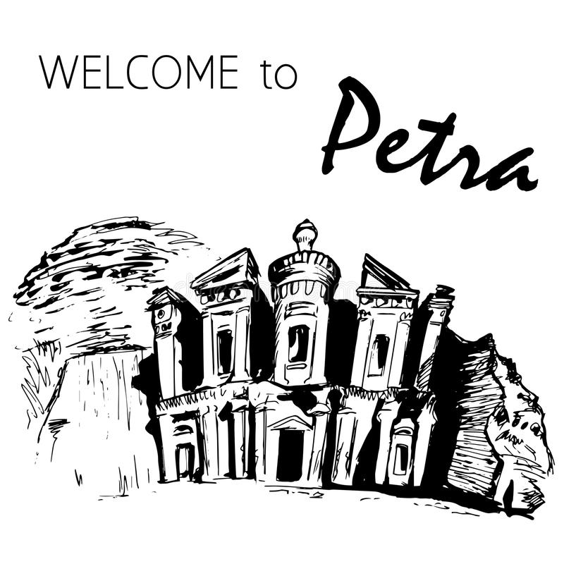 The Monastery in the rocks, Petra, Jordan stock illustration
