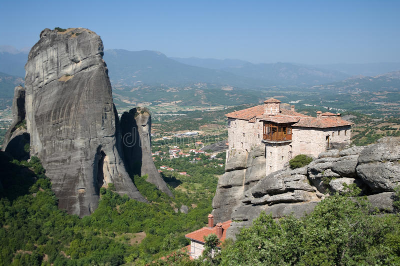 Monastery Roussanou And Valley Meteora, Greece stock image