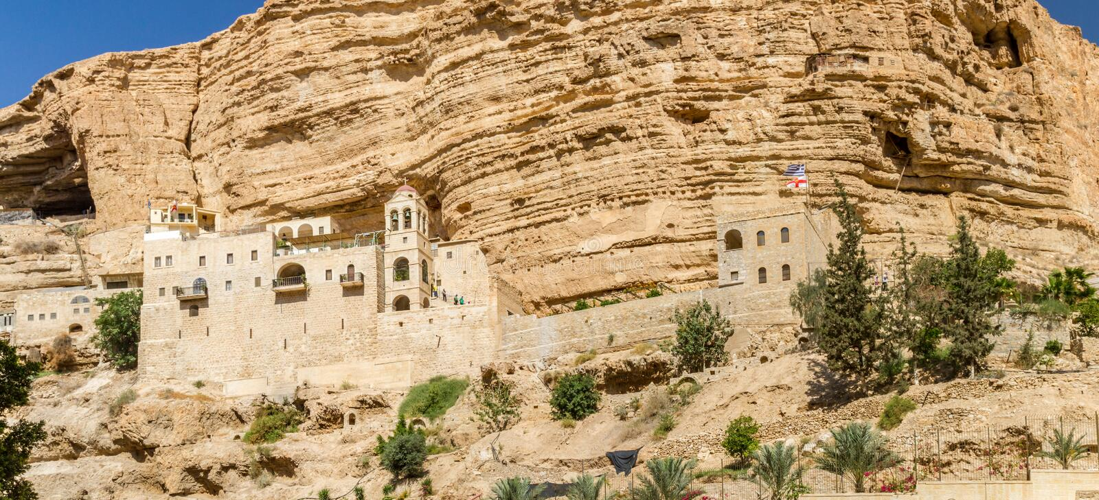 The Wadi Qelt, Monastery of St. George in Israel. The monastery of Saint George of Choziba in Judaean Desert near Jericho in the Holy Land, Israel stock image