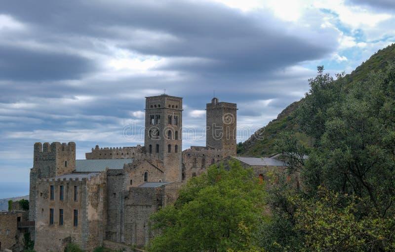 Antique mountain Monastery Sant Pere de Rodes stock photos