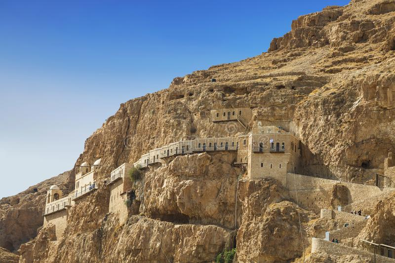 The monastery of Temptation on the mountain Karantal, Jericho, Judean desert. This place is know as hill where Jesus was tempted b. Y the devil. Palestinian royalty free stock images