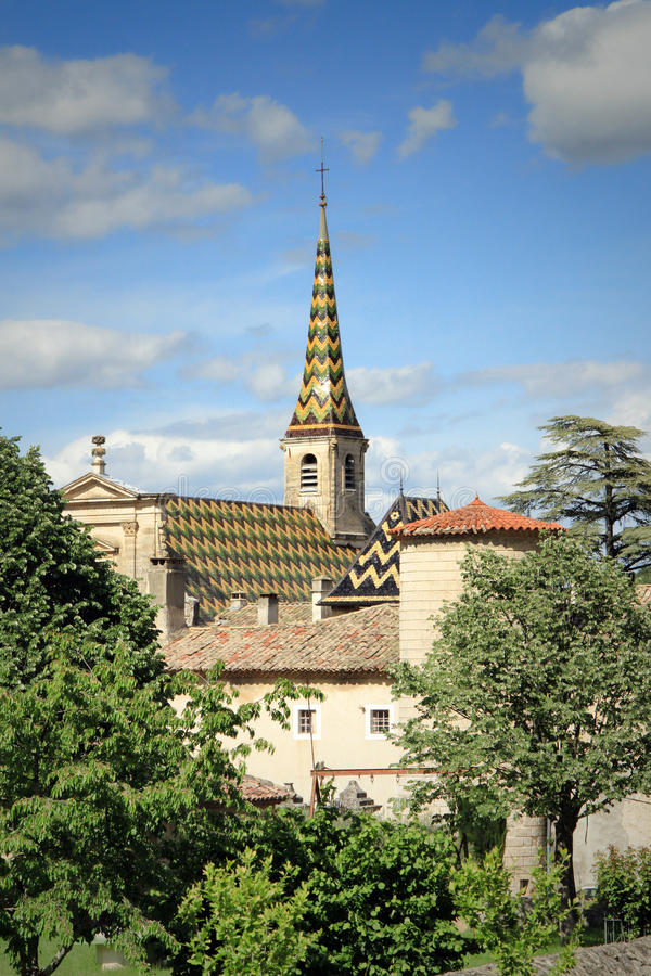 Monastery of Valbonne in Gard Provencal, France. Monastery of Valbonne founded in 1204 near Saint Paulet de Caisson in Gard Provencal, south of France ( stock photography