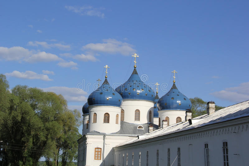 Monastery in Velikiy Novgorod. Domes of monastery in Velikiy Novgorod stock images