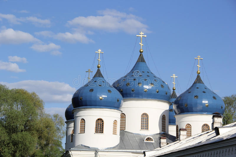 Monastery in Velikiy Novgorod. Domes of monastery in Velikiy Novgorod stock photo