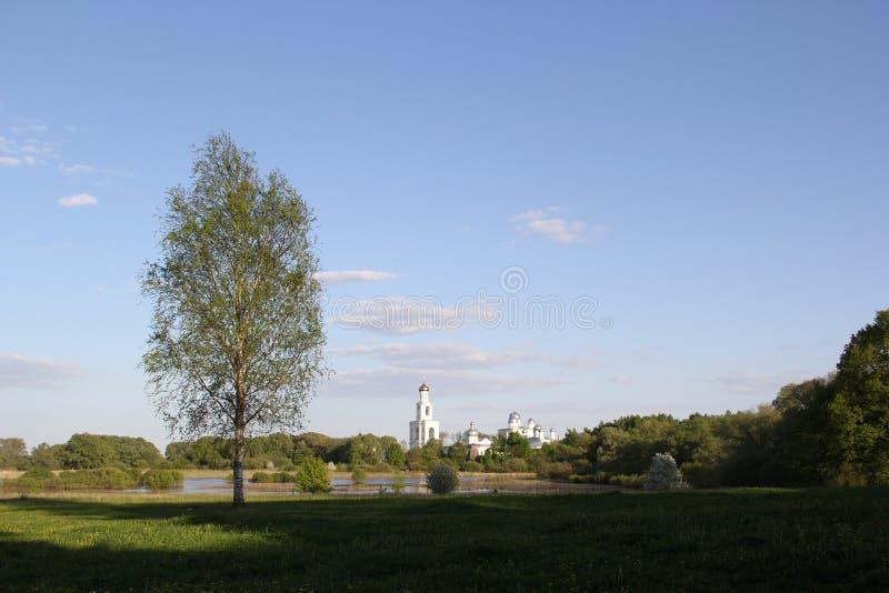 Monastery in Velikiy Novgorod. Landscape with monastery in Velikiy Novgorod royalty free stock photos