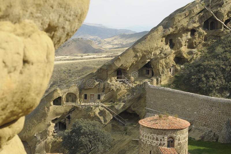 The monastic complex of David Gareja. David Gareja is a rock-hewn Georgian Orthodox monastery complex located in Sagarejo Municipality, the Kakheti region of royalty free stock photography