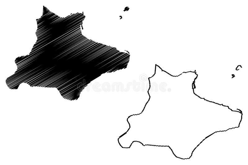 Monastir Governorate Governorates of Tunisia, Republic of Tunisia map vector illustration, scribble sketch Monastir map.  royalty free illustration