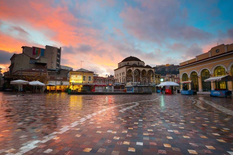 Monastiraki广场,雅典 免版税库存图片