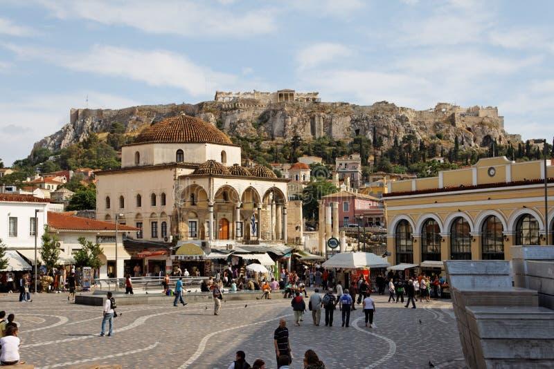 Monastiraki Atenas cuadrada fotografía de archivo libre de regalías