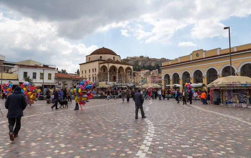 Het vierkant van Monastiraki, Athene, Griekenland stock foto's