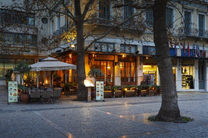 Monastiraki neighborhood in Athens. Coffee shop in the square near the metropolitan cathedral of Athens in Monastiraki neighborhood. n royalty free stock image