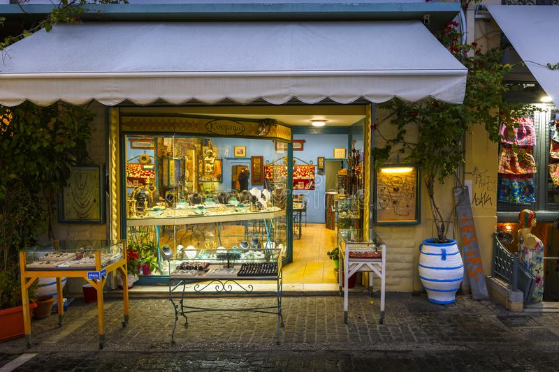 Monastiraki neighborhood in Athens. Shop with jewelry which is very charcteristic for this neighborhood frequented by tourists royalty free stock photo