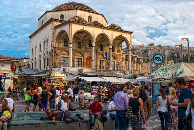 Monastiraki Square in Athens, Greece stock photography