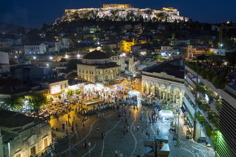 Monastirakiplein bij Nacht, Athene Griekenland stock fotografie