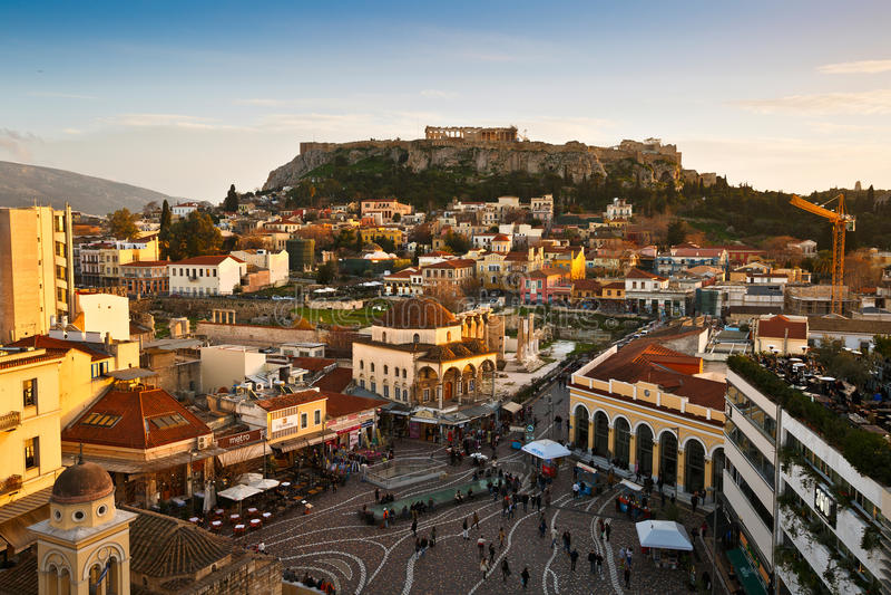 Monastirakivierkant, Athene royalty-vrije stock foto's