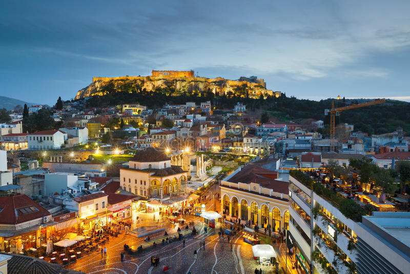 Monastirakivierkant, Athene royalty-vrije stock fotografie