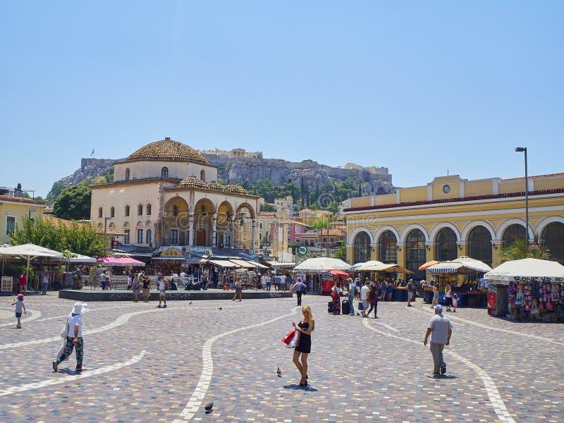 Monastirakivierkant Athene, Attica gebied, Griekenland stock foto's