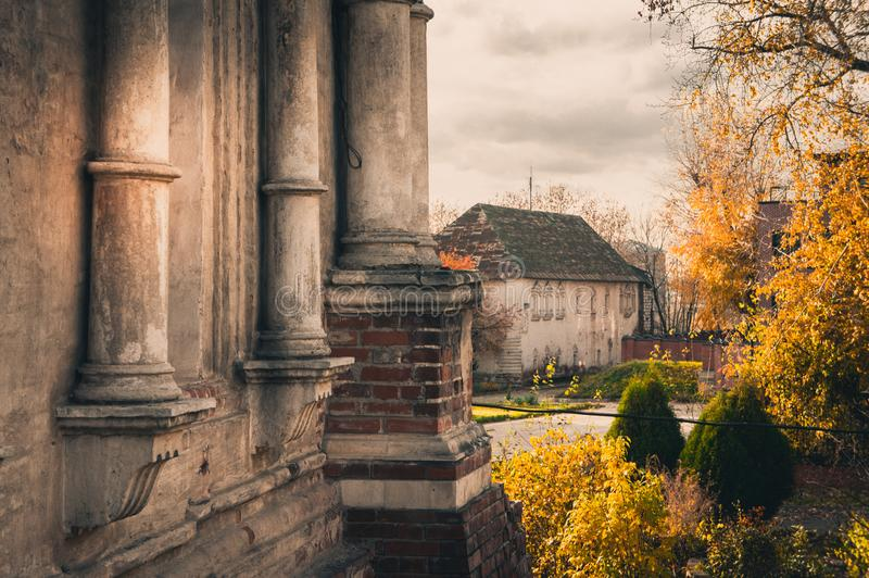 Monastery yard with the new refectory, Simonov Monastery, Moscow, Russia royalty free stock image