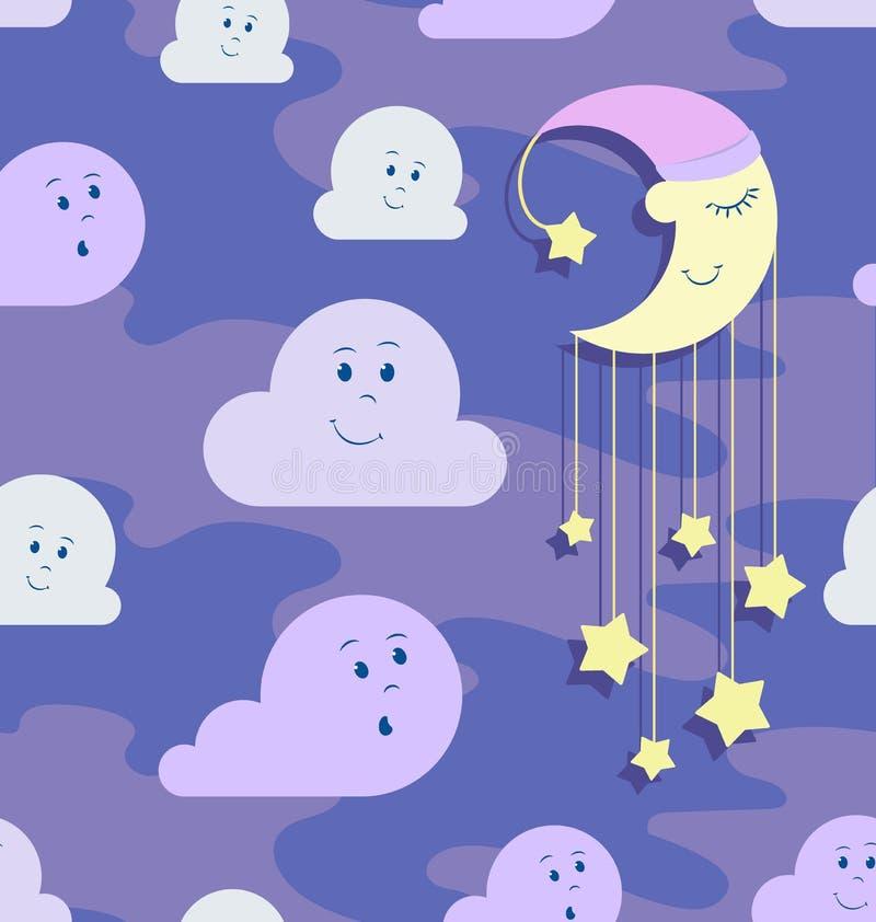 Monat in der Nachthaube mit Sternen und sich hin- und herbewegenden Wolken stock abbildung