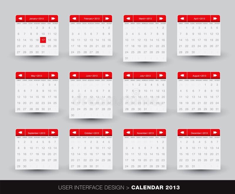 Monatsauslegung des kalenders 2013 für Handy lizenzfreie abbildung