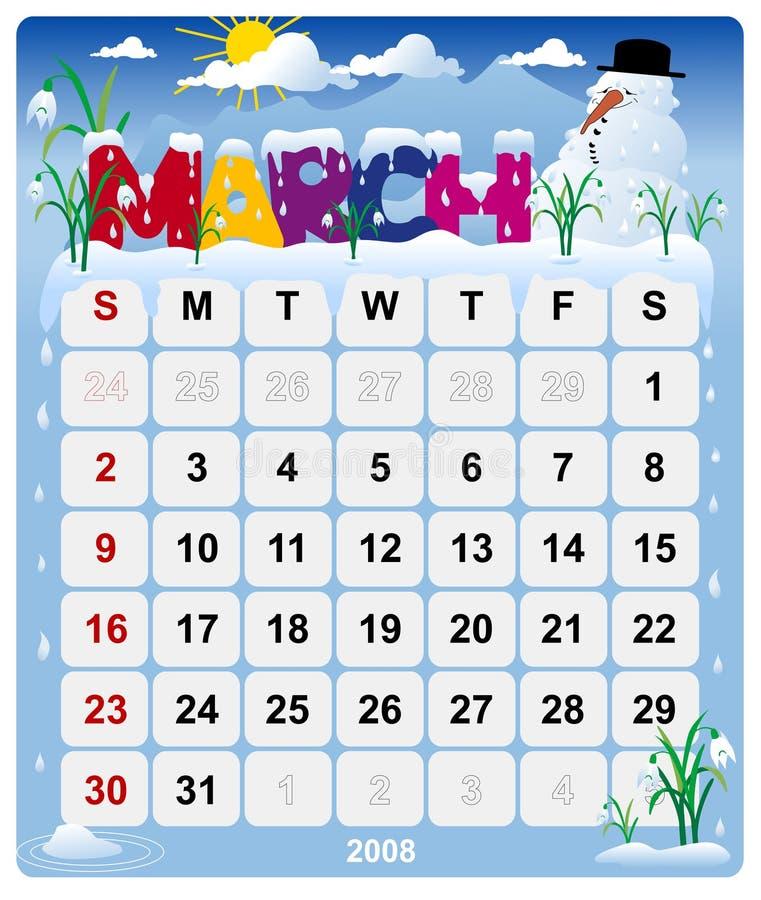 Monatskalender - 2. März vektor abbildung