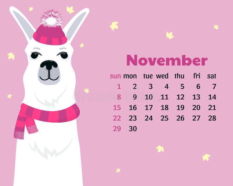 Monatskalender für November 2020 von Sonntag bis Samstag Nettes Lama im Hut mit flaumigem pom pom und Schal Alpakakarikatur stock abbildung
