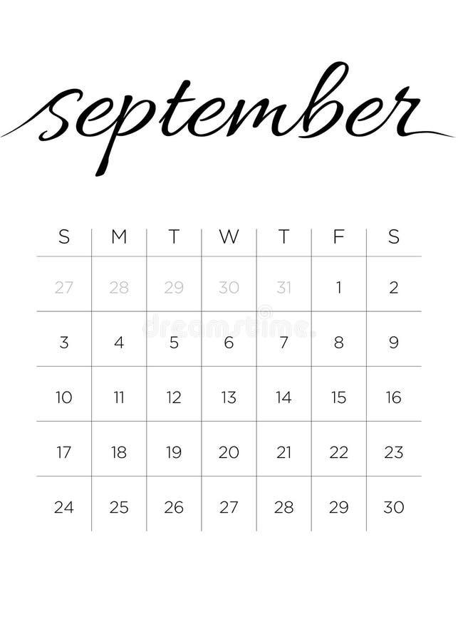 Monatskalender im September 2017 lizenzfreie abbildung