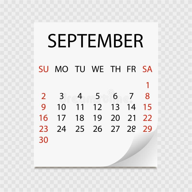 Monatskalender 2018 mit Seitenlocke Abreisskalender für September Weißer Hintergrund vektor abbildung