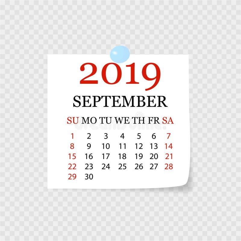 Monatskalender 2019 mit Seitenlocke Abreisskalender für September Weißer Hintergrund Auch im corel abgehobenen Betrag vektor abbildung