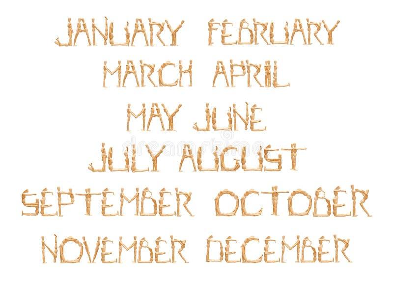 Monatszeitschrift durch hölzernes Mannequin stock abbildung