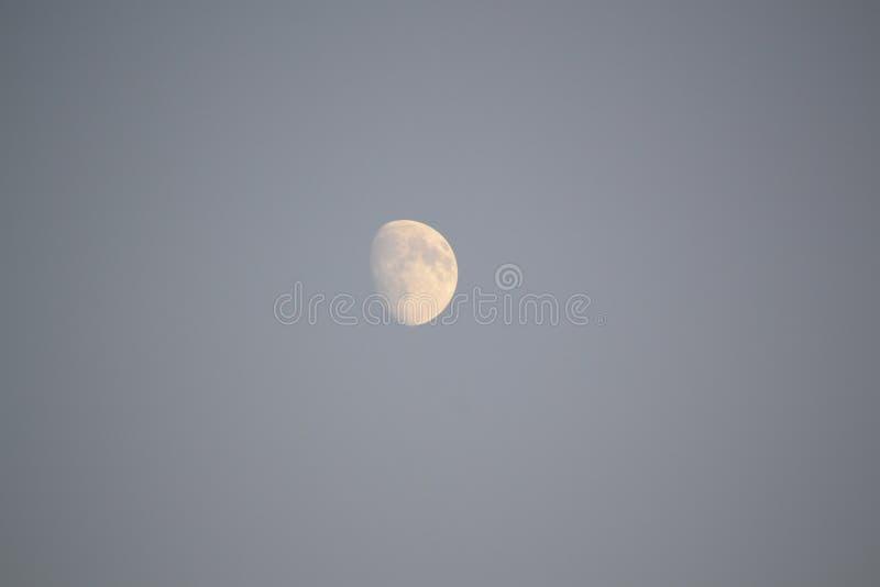 Mond auf grauem Himmel lizenzfreie stockfotos