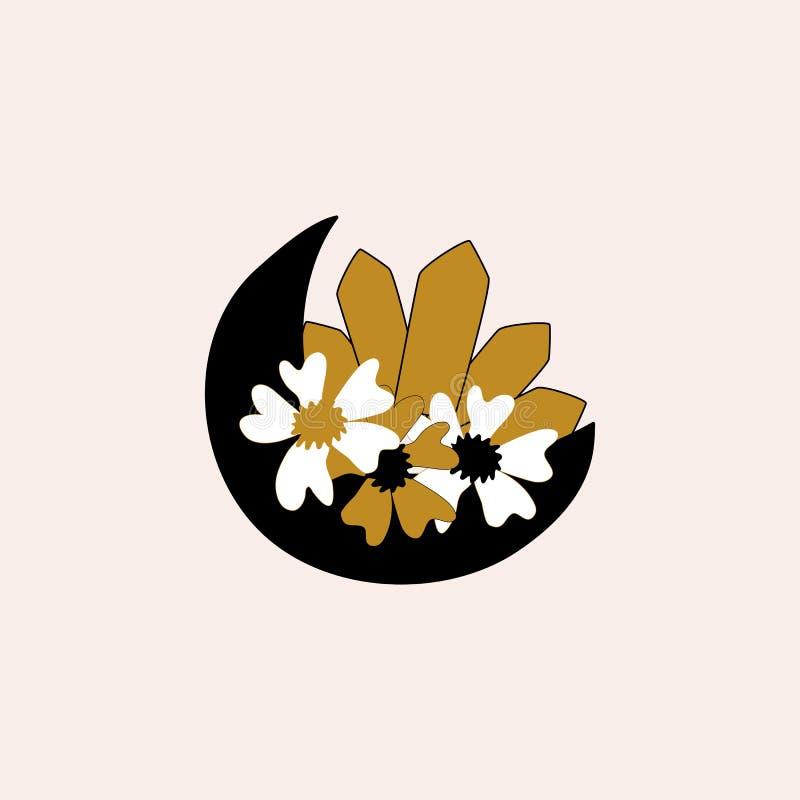Mond, Blumen und Diamanten, Vektorelement vektor abbildung