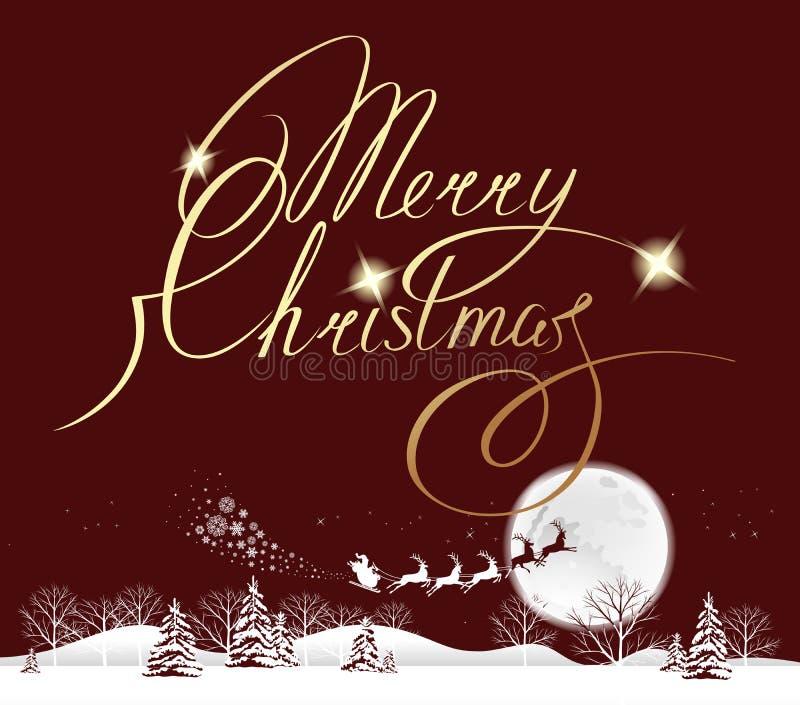 Mond der frohen Weihnachten lizenzfreie abbildung