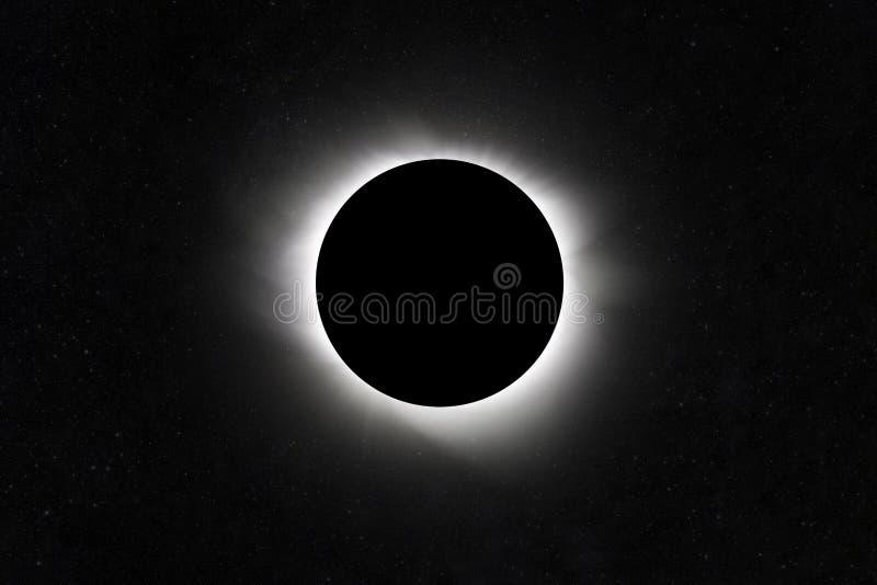 Mond-Eklipse Planet mit einem Glühen Sternfeld lizenzfreie stockfotografie
