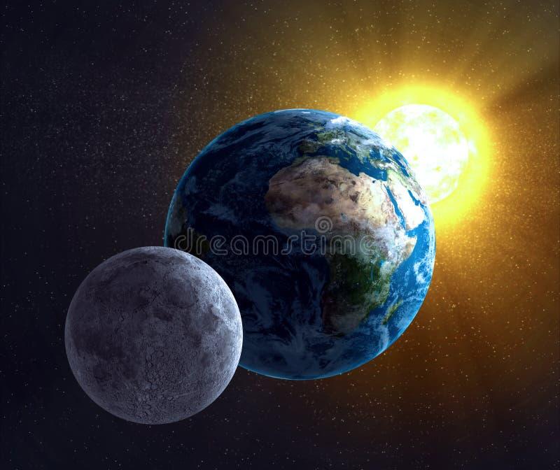 Mond, Erde und der Sun lizenzfreie abbildung