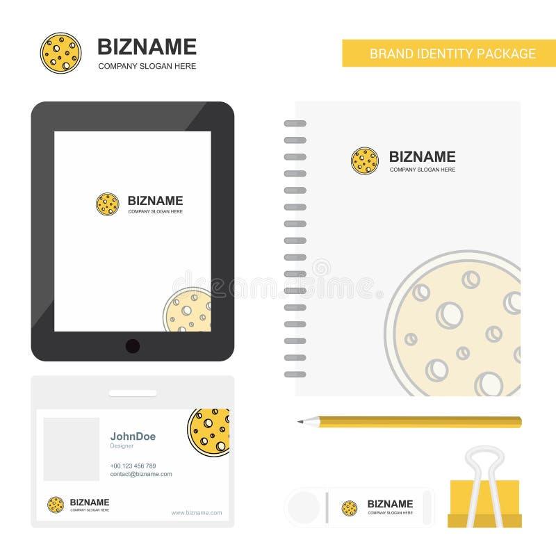 Mond-Geschäfts-Logo, Tab App, Tagebuch PVC-Angestellt-Karte und USB-Marken-stationäre Verpackungsgestaltungs-Vektor-Schablone lizenzfreie abbildung