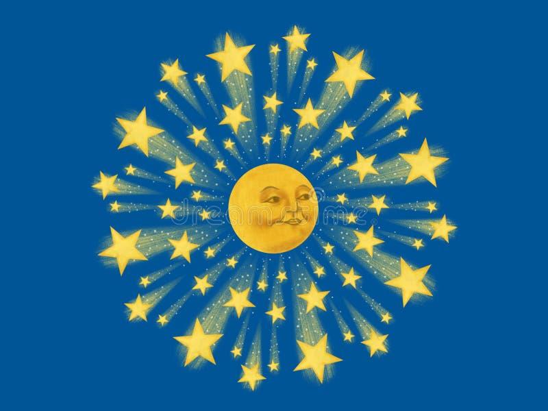 Mond-Gesicht Starburst Mandala Painting Illustration stock abbildung