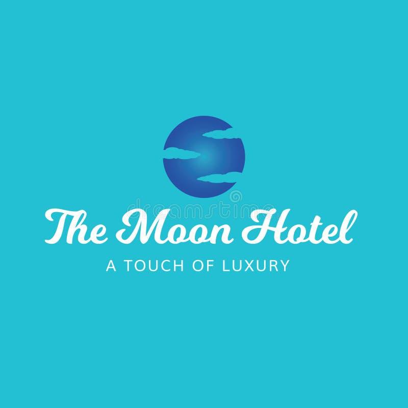 Mond-Hotel-Himmel bewölkt Luxusbadekurort-Logo lizenzfreie stockfotografie