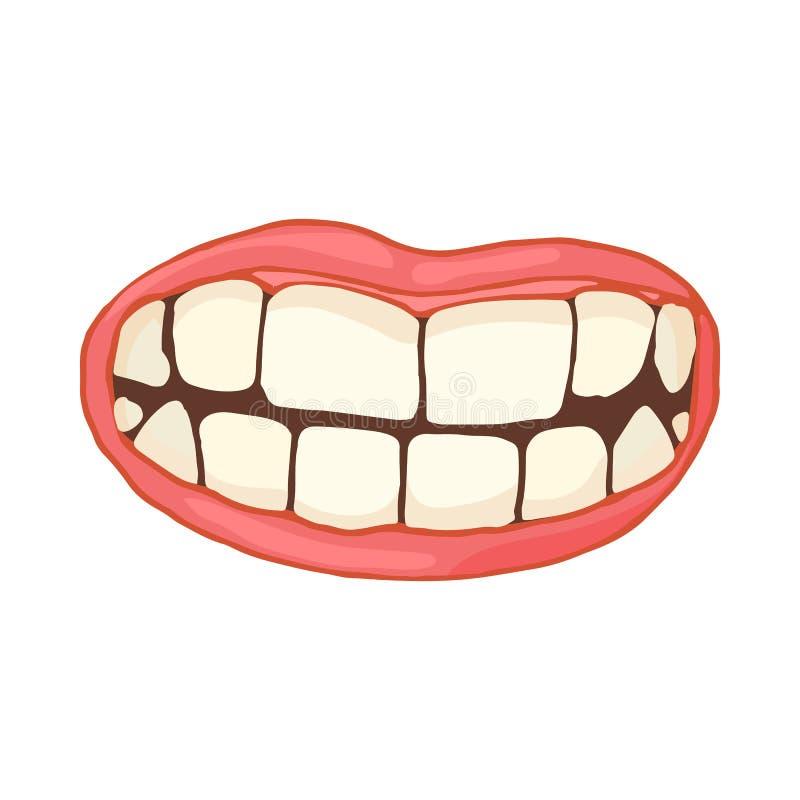 Mond met wit gezond tandenpictogram, beeldverhaalstijl vector illustratie