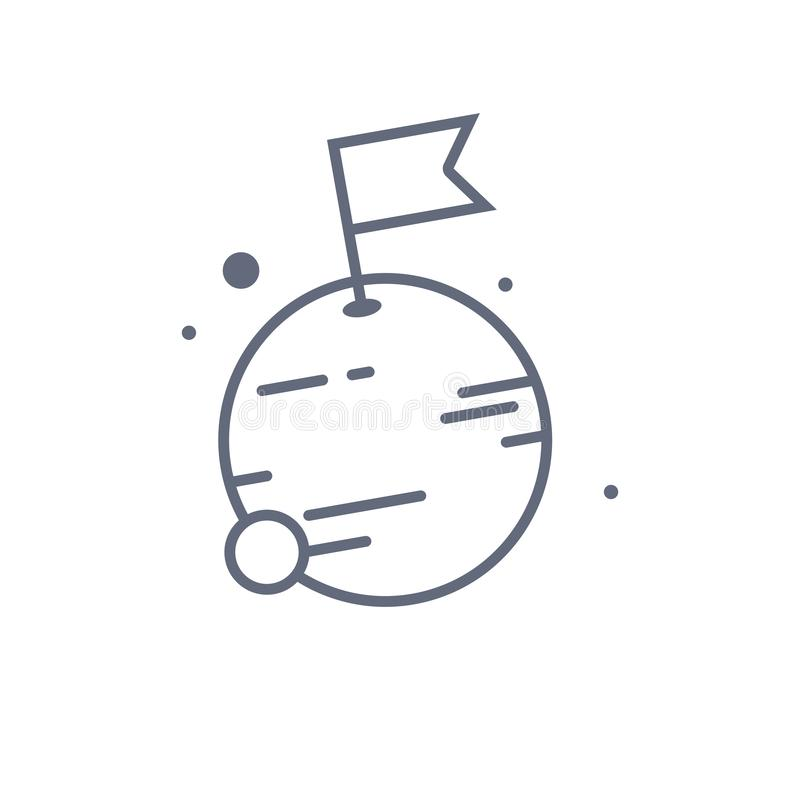Mond mit Flaggenlinie Ikone lineares Artzeichen f?r bewegliches Konzept und Webdesign Flagge auf Mondplanetenentwurfs-Vektorikone vektor abbildung