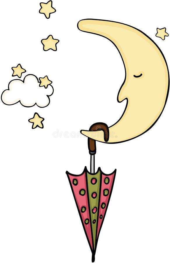 Mond mit Regenschirm stock abbildung