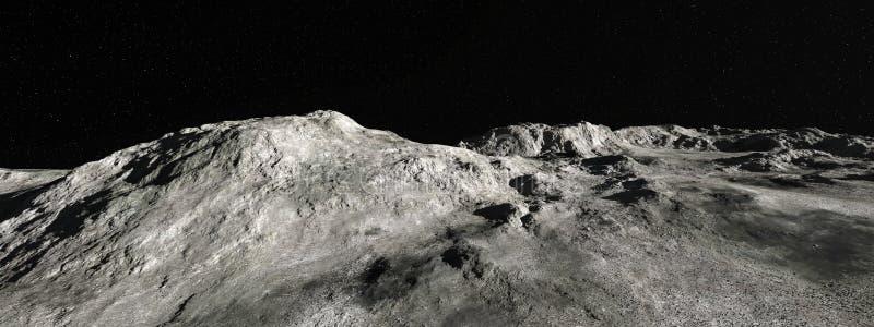 Mond-Mondlandschaftspanorama-Hintergrund lizenzfreies stockfoto