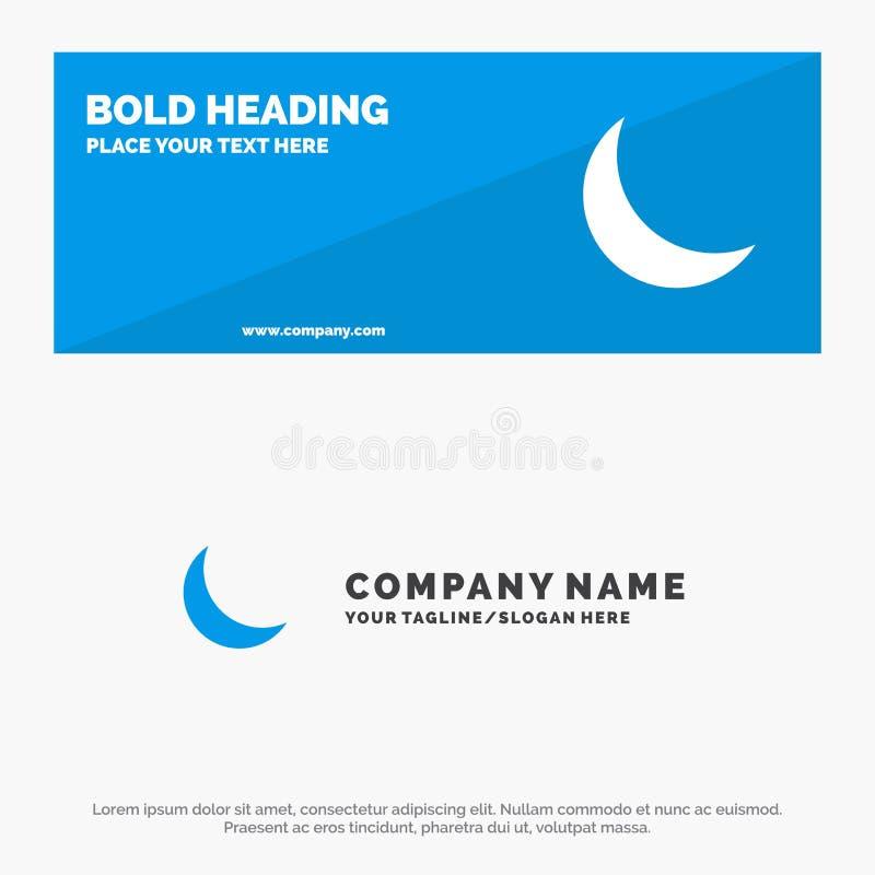Mond, Nacht, Schlaf, natürliche feste Ikonen-Website-Fahne und Geschäft Logo Template lizenzfreie abbildung