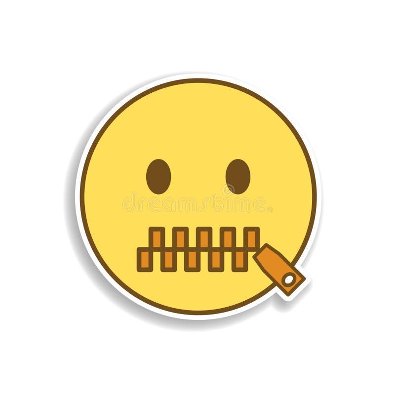 mond om het gekleurde pictogram van de emojisticker te sluiten Element van emoji voor mobiele concept en webtoepassingenillustrat stock illustratie
