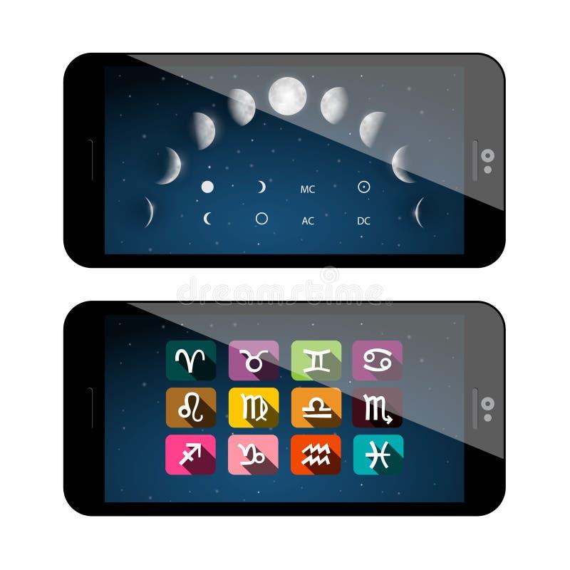 Mond-Phasen-Symbole Handy App lizenzfreie abbildung