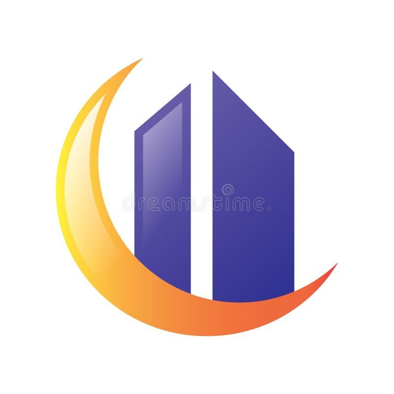 Mond-Real Estate-Logovektor lizenzfreie abbildung